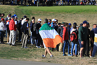An Irish flag passes by the 11th during Saturday Foursomes at the Ryder Cup, Le Golf National, Ile-de-France, France. 29/09/2018.<br /> Picture Thos Caffrey / Golffile.ie<br /> <br /> All photo usage must carry mandatory copyright credit (&copy; Golffile | Thos Caffrey)