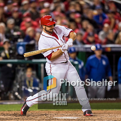13 October 2016: Washington Nationals outfielder Chris Heisey in action during Game 5 of the NLDS against the Los Angeles Dodgers at Nationals Park in Washington, DC. The Dodgers edged out the Nationals 4-3, to take Game 5, and the Series, 3 games to 2, moving on to the National League Championship against the Chicago Cubs. Mandatory Credit: Ed Wolfstein Photo *** RAW (NEF) Image File Available ***