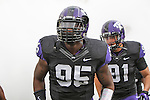 TCU Horned Frogs defensive end Devonte Fields (95) in action during the game between the Oklahoma Sooners and the TCU Horned Frogs  at the Amon G. Carter Stadium in Fort Worth, Texas. OU defeats TCU 24 to 17.