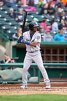 Kane County Cougars Tra Holmes (3) at bat during a Midwest League game against the Fort Wayne TinCaps at Parkview Field on May 1, 2019 in Fort Wayne, Indiana. Fort Wayne defeated Kane County 10-4. (Zachary Lucy/Four Seam Images)