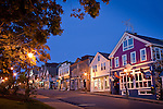 Bar Harbor shops at night in Bar Harbor, ME, USA