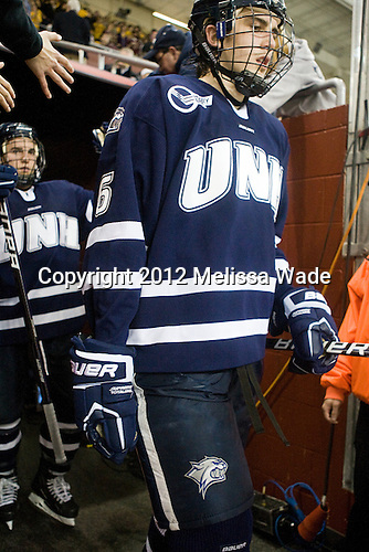 Trevor van Riemsdyk (UNH - 6) - The Boston College Eagles defeated the visiting University of New Hampshire Wildcats 4-3 on Friday, January 27, 2012, in the first game of a back-to-back home and home at Kelley Rink/Conte Forum in Chestnut Hill, Massachusetts.