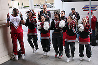 31 March 2008: The Stanford Cheerleaders send off the team before Stanford's 98-87 win over the University of Maryland in the elite eight game of the NCAA Division 1 Women's Basketball Championship in Spokane, WA.