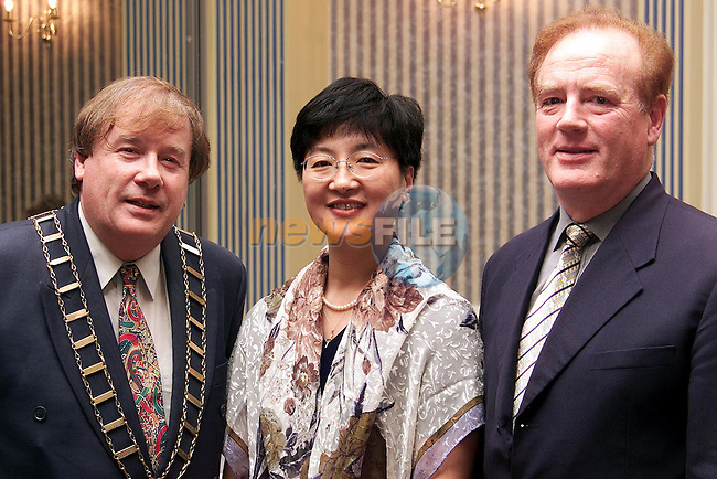Mayor Frank Godfrey, He Fen, Chinese Disabled Federation and Seamus Thompson at the Wheelchair Association Dinner Dance in the Europa Hotel..Picture: Paul Mohan/Newsfile