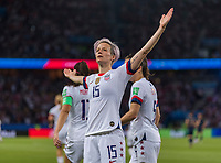 PARIS,  - JUNE 28: Megan Rapinoe #15 celebrates her goal during a game between France and USWNT at Parc des Princes on June 28, 2019 in Paris, France.