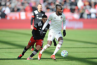 WASHINTON, DC - FEBRUARY 29: Washington, D.C. - February 29, 2020: Kei Kamara #23 of the Colorado Rapids moves the ball during a game between D.C. United and the Colorado Rapids. The Colorado Rapids defeated D.C. United 2-1 during their Major League Soccer (MLS)  match at Audi Field during a game between Colorado Rapids and D.C. United at Audi FIeld on February 29, 2020 in Washinton, DC.