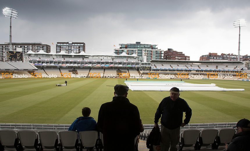 Light rain and bad light brought proceedings to a halt at Lords during Middlesex CCC vs Lancashire CCC, Specsavers County Championship Division 2 Cricket at Lord's Cricket Ground on 13th April 2019
