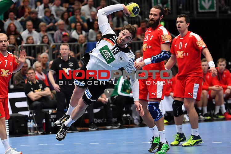 02.04.2016, LANXESS arena, K&ouml;ln , GER, Handball DHB Testl&auml;nderspiel,   Deutschland (GER) vs. D&auml;nemark ( DK) <br /> <br /> im Bild / picture shows: Hendrik Pekeler ( Deutschland/Germany #13) Bo Spellerberg  ( D&auml;nemark/Daenemark #13 )<br /> <br /> <br /> <br /> Foto &copy; nordphoto / meuter