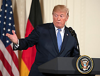 United States President Donald J. Trump and Chancellor Angela Merkel of Germany conduct a joint press conference in the East Room of the White House in Washington, DC on Friday, April 27, 2018.<br />