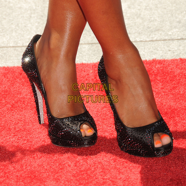 MELANIE BROWN aka MEL B's shoes .62nd Annual Primetime Creative Arts Emmy Awards - Arrivals held at Nokia Theatre L.A. Live, Los Angeles, CA, USA, 21st August 2010..emmys arrivals feet shoes heels beaded jewelled gem jewel encrusted embellished orange toes nails pedicure polish varnish  peep toe shoes.CAP/ADM/BP .©Byron Purvis/AdMedia/Capital Pictures.