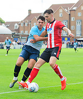 Lincoln City's Ellis Chapman vies for possession with Gainsborough Trinity's Joe Maguire<br /> <br /> Photographer Chris Vaughan/CameraSport<br /> <br /> Football Pre-Season Friendly (Community Festival of Lincolnshire) - Gainsborough Trinity v Lincoln City - Saturday 6th July 2019 - The Martin & Co Arena - Gainsborough<br /> <br /> World Copyright © 2018 CameraSport. All rights reserved. 43 Linden Ave. Countesthorpe. Leicester. England. LE8 5PG - Tel: +44 (0) 116 277 4147 - admin@camerasport.com - www.camerasport.com