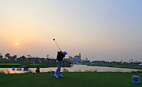Alexander Levy (FRA) tees off the the 18th tee for a playoff during Sunday's Final Round of the 2014 BMW Masters held at Lake Malaren, Shanghai, China. 2nd November 2014.<br /> Picture: Eoin Clarke www.golffile.ie