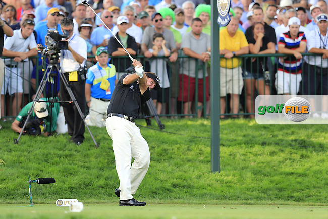 Phil Mickelson (USA) tees off the 14th tee during Thursday's Round 1 of the 95th US PGA Championship 2013 held at Oak Hills Country Club, Rochester, New York.<br /> 8th August 2013.<br /> Picture: Eoin Clarke www.golffile.ie