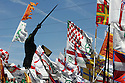 A statue of Alberto Da Giussano at meeting of Lega Nord (North League party) in Pontida , Sunday, June 19, 2011. © Carlo Cerchioli..Una statua di Alberto da Giussano al raduno della Lega Nord a Pontida, 19 giugno 2011.