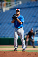 Toronto Blue Jays pitcher Francisco Rios (26) gets ready to deliver a pitch during a Florida Instructional League game against the Philadelphia Phillies on September 24, 2018 at Spectrum Field in Clearwater, Florida.  (Mike Janes/Four Seam Images)