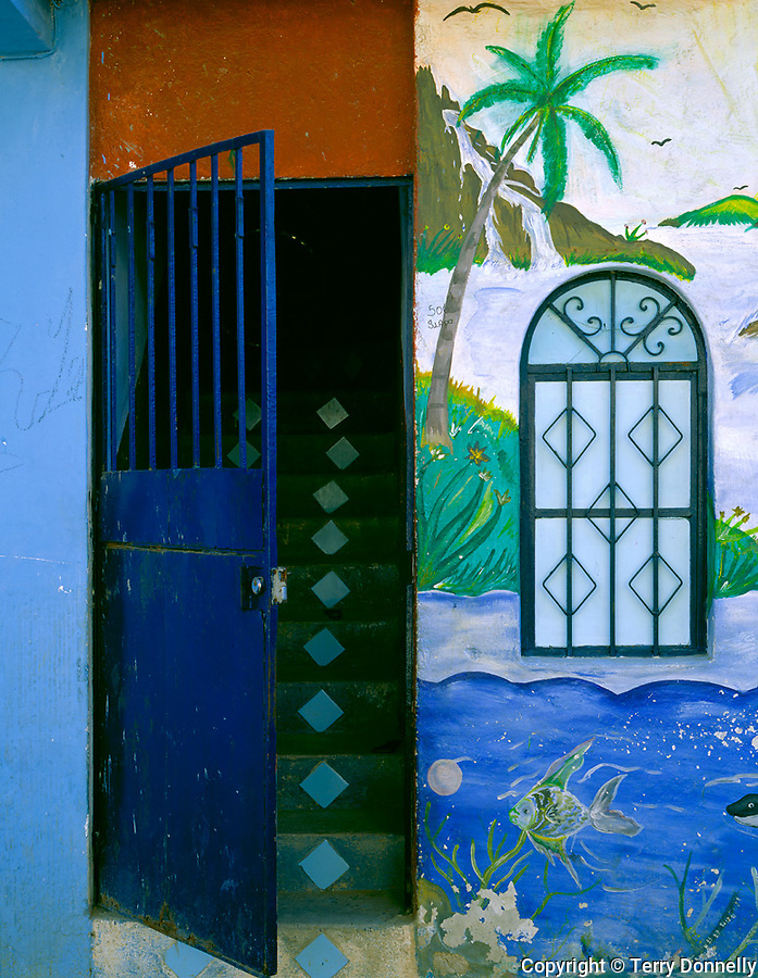 Nayarit, Mexico: Open doorway and painted wall on a side street in the village of Bucerias