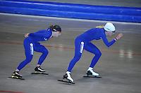 SCHAATSEN: HEERENVEEN: 17-06-2014, IJsstadion Thialf, Zomerijs training, Ireen Wust, Yvonne Nauta, ©foto Martin de Jong
