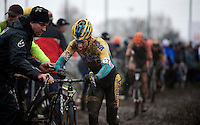 Tom Meeusen (BEL/Telenet-Fidea) changing bikes in the pits<br /> <br /> Azencross Loenhout 2014