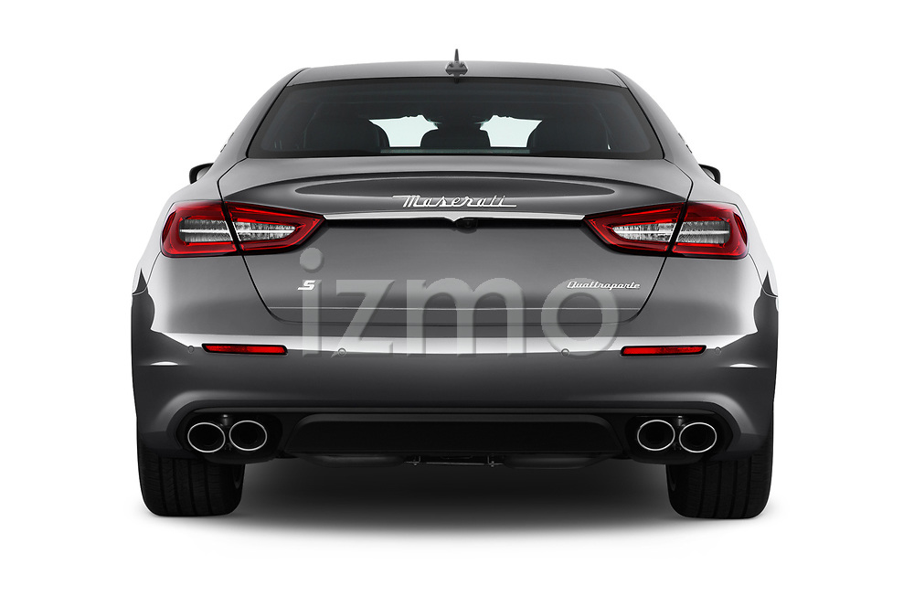 Straight rear view of a 2018 Maserati Quattroporte S 2WD 4 Door Sedan stock images
