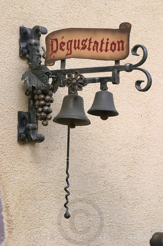 wrought iron sign wine tasting dom bruno sorg eguisheim alsace france