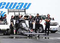 Jun 6, 2015; Englishtown, NJ, USA; Crew members with NHRA top fuel driver Dave Connolly during qualifying for the Summernationals at Old Bridge Township Raceway Park. Mandatory Credit: Mark J. Rebilas-