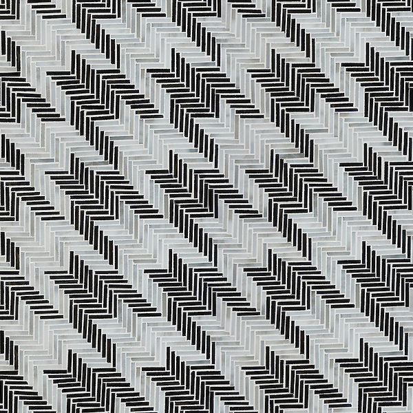 Houndstooth, a hand-cut jewel glass mosaic, backsplash shown in Jasper and Alabaster jewel glass, is part of the Houndstooth Collection by Sara Baldwin for New Ravenna.