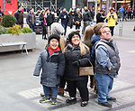 """Alex Johnston, Amber Johnston and Trent Johnston from The cast of TLC's """"7 Little Johnstons"""" filming promoting filming a visit to Times Square on January 4, 2019 in New York City."""