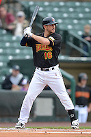 Rochester Red Wings third baseman Trevor Plouffe #16, on rehab from the Minnesota Twins, during a game against the Toledo Mudhens on June 11, 2013 at Frontier Field in Rochester, New York.  Toledo defeated Rochester 9-5.  (Mike Janes/Four Seam Images)