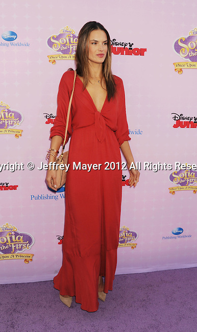 """BURBANK, CA - NOVEMBER 10: Alessandra Ambrosio arrive at the Disney Channel's Premiere Party For """"Sofia The First: Once Upon A Princess"""" at the Walt Disney Studios on November 10, 2012 in Burbank, California."""