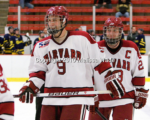 Danny Biega (Harvard - 9), Chris Huxley (Harvard - 28) - The visiting Merrimack College Warriors defeated the Harvard University Crimson 3-1 (EN) at Bright Hockey Center on Tuesday, November 30, 2010.