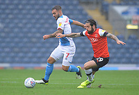Blackburn Rovers' Adam Armstrong under pressure from Luton Town's Jacob Butterfield<br /> <br /> Photographer Kevin Barnes/CameraSport<br /> <br /> The EFL Sky Bet Championship - Blackburn Rovers v Luton Town - Saturday 28th September 2019 - Ewood Park - Blackburn<br /> <br /> World Copyright © 2019 CameraSport. All rights reserved. 43 Linden Ave. Countesthorpe. Leicester. England. LE8 5PG - Tel: +44 (0) 116 277 4147 - admin@camerasport.com - www.camerasport.com