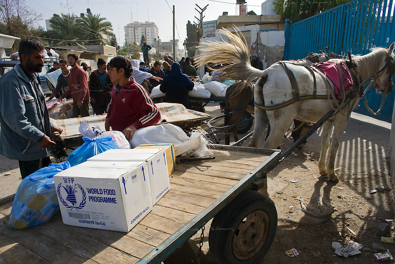 Gaza city, Jan 25 2009.WFP blanket food distribution to the civilian population in Gaza.