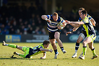 Will Hurrell of Bath Rugby takes on the Sale Sharks defence. Aviva Premiership match, between Bath Rugby and Sale Sharks on February 24, 2018 at the Recreation Ground in Bath, England. Photo by: Patrick Khachfe / Onside Images