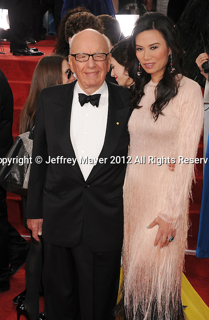 BEVERLY HILLS, CA - JANUARY 15: Rupert Murdoch and Wendi Murdoch arrive at the 69th Annual Golden Globe Awards held at the Beverly Hilton Hotel on January 15, 2012 in Beverly Hills, California.