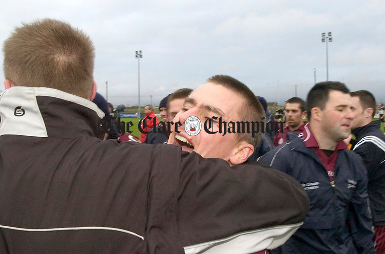 Lissycasey manager Declan Conway celebrates with Michael Melican.Pic Arthur Ellis.