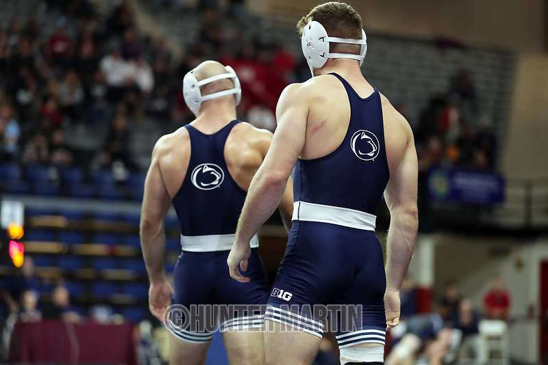 PHILADELPHIA, PA - NOVEMBER 18: Brady Berge (R) and Jarod Verkleeren of the Penn State Nittany Lions wrestle each other during the 149 pound semi-final match at the Keystone Classic on November 18, 2018 at The Palestra on the campus of the University of Pennsylvania in Philadelphia, Pennsylvania. (Photo by Hunter Martin/Getty Images) *** Local Caption *** Brady Berge;Jarod Verkleeren
