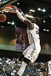 Reno Bighorns Mo Charlo dunks against the Idaho Stampede during a basketball game Sunday, April 1, 2012 in Reno, Nev. Idaho won 108-99..Photo by Cathleen Allison