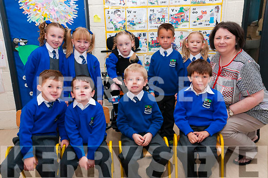 Mrs. O'Driscoll's junior infants class at Killocrim NS on their first day at school. Front :Leon O'Gorman, Ryan Keane,, Sean Barry & Tadgh Taylor. Back: Charlene Ann Duffy, Aideen Duffy, Amelia Murphy,Denis Pabtea, Victoria Walanus & Mrs O'Driscoll.