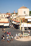 Place Ippokratous square and fountain, Rhodes town, Greece