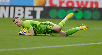 2nd February 2020; Turf Moor, Burnley, Lancashire, England; English Premier League Football, Burnley versus Arsenal; Bernd Leno of Arsenal makes a save low to the ground