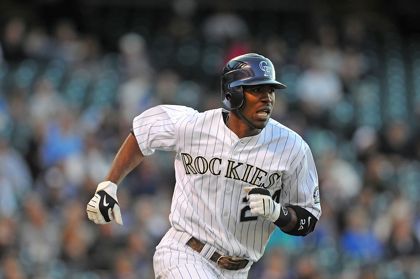 25 MAY 2011: Colorado Rockies center fielder Dexter Fowler (24) during a regular season game between the Arizona Diamondbacks and the Colorado Rockies at Coors Field in Denver, Colorado. The Diamondbacks beat the Rockies 2-1 in second game of a split doubleheader.   *****For Editorial Use Only*****