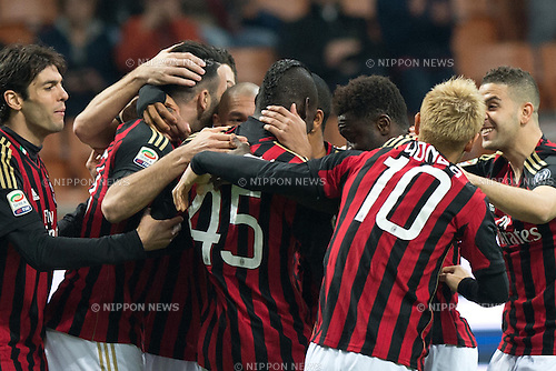 "Milan team group, MARCH 29, 2014 - Football / Soccer : Mario Balotelli of AC Milan celebrates after scoring their 1st goal during the Italian ""Serie A"" match between AC Milan 3-0 Chievo Verona at Stadio Giuseppe Meazza in Milan, Italy. (Photo by Enrico Calderoni/AFLO SPORT)"