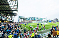 Picture by Allan McKenzie/SWpix.com - 13/04/2018 - Rugby League - Betfred Super League - Leeds Rhinos v Wigan Warriors - Headingley Carnegie Stadium, Leeds, England - Leeds and Wigan come out with their mascots at Emerald Headingley.