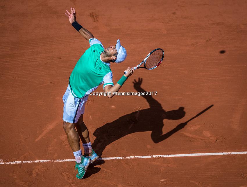 Paris, France, 5 June, 2017, Tennis, French Open, Roland Garros,  Fernando Verdasco  (ESP)<br /> Photo: Henk Koster/tennisimages.com