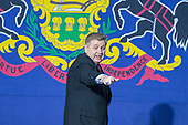 Rick Saccone, Republican Congressional candidate for Pennsylvania's 18th district, leaves the stage after speaking to supporters during a Make American Great Rally at Atlantic Aviation in Moon Township, Pennsylvania on March 10th, 2018. Credit: Alex Edelman / CNP