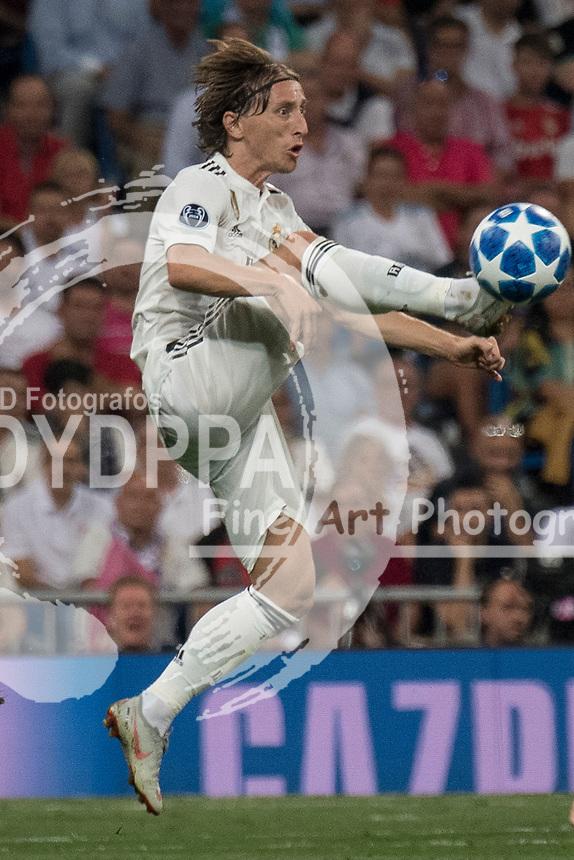 Uefa Champions League football match Real Madrid vs AS Roma at the Santiago Bernabeu stadium in Madrid on September 19, 2018.<br /> <br /> Luca Modric