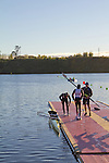 Rowing, Morning workout with coach Rob Morgan, Great Britain Men's lightweight pair, Chris Boddy, bow, Adam Freeman-Pask, stroke, November 2, 2010 FISA World Rowing Championships, Lake Karapiro, Hamilton, New Zealand,