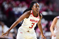 College Park, MD - NOV 13, 2017: Maryland Terrapins guard Channise Lewis (3) gets back on defense during game between No. 4 ranked South Carolina and the No. 15 Maryland Terrapins at the XFINITY Center in College Park, MD. The Gamecocks defeated Maryland 94-86.  (Photo by Phil Peters/Media Images International)