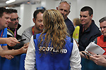 Hannah Miley (SCO) is interviewed by the press following her winning the silver medal in the womens 400m Individual medley. Swimming finals. XXI Commonwealth games. Optus Aquatics Centre. Gold Coast 2018. Queensland. Australia. 05/04/2018. ~ MANDATORY CREDIT Garry Bowden/SIPPA - NO UNAUTHORISED USE - +44 7837 394578