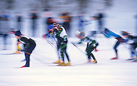 Blurred motion image of Nordic skiers.